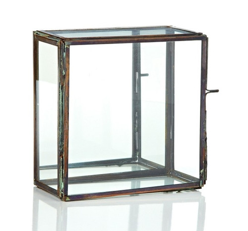 "6.25"" Clear and Brown Rectangular Glass Tabletop Decor with Mirror Hinged Door - IMAGE 1"