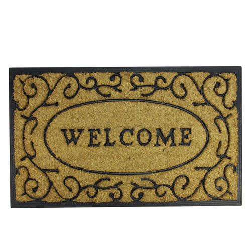 """Brown and Black Welcome with Black Scrollwork Doormat 18"""" x 30"""" - IMAGE 1"""