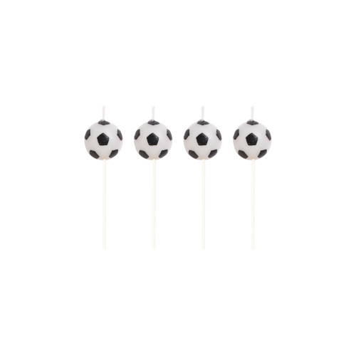 "Club Pack of 48 Black and White Soccer Fanatic Decorative Party Pick Candles 3"" - IMAGE 1"