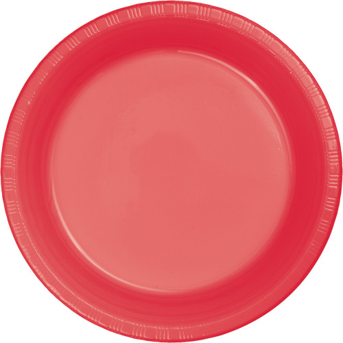 "Club Pack of 240 Coral Pink Red Disposable Plastic Party Banquet Dinner Plates 8.75"" - IMAGE 1"