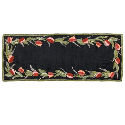 "14"" x 35"" Blue and Red Rectangular Thanksgiving Table Runner - IMAGE 1"