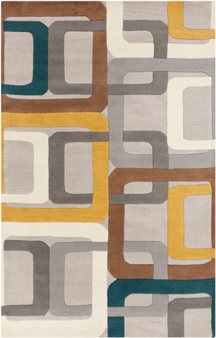 10' x 14' Contemporary Gray and Teal Blue Hand Tufted Rectangular Wool Area Throw Rug - IMAGE 1