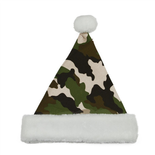 Green and Brown Camouflage Santa Unisex Adult Christmas Hat Costume Accessory - One Size - IMAGE 1