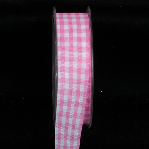 "Pink and White Gingham Cut Edge Ribbon 1"" x 132 Yards - IMAGE 1"