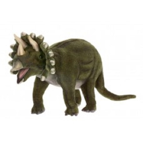 "Set of 3 Green Handcrafted Soft Plush Triceratops Stuffed Animals 19.5"" - IMAGE 1"