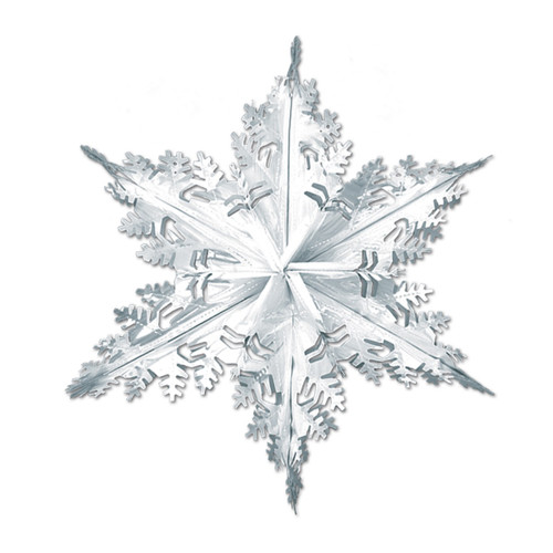 "Club Pack of 12 Metallic Silver Winter Snowflake Hanging Christmas Decorations 24"" - IMAGE 1"