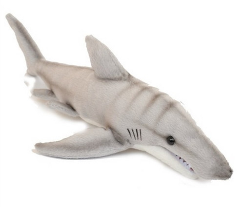 "Set of 6 Gray Handcrafted Soft Plush Tiger Shark Stuffed Animals 13.5"" - IMAGE 1"