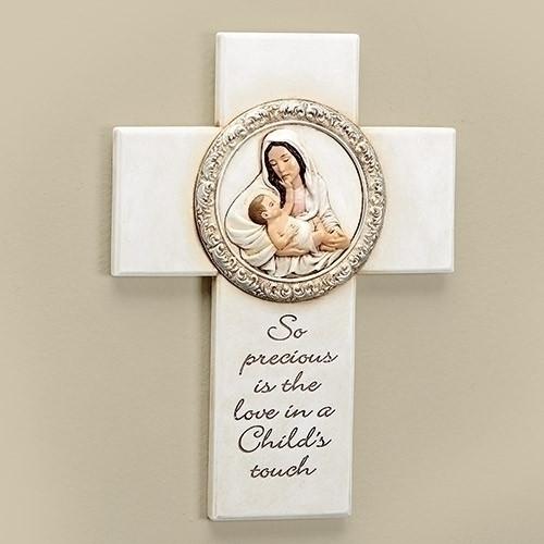 "8"" Joseph's Studio Madonna and Child Religious Wall Cross Decoration - IMAGE 1"