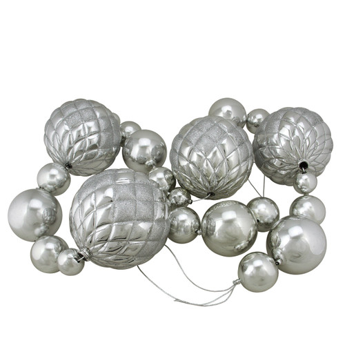 6' Oversized Shatterproof Shiny Silver Christmas Ball Garland with Glitter Accents - IMAGE 1