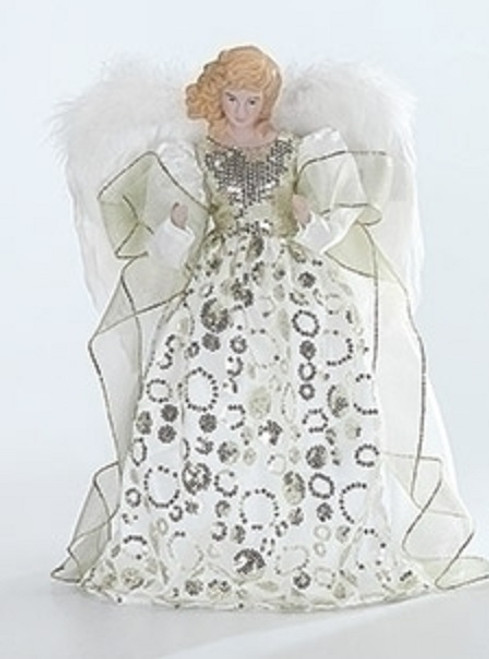 """14"""" White and Green Gown Porcelain Angel Christmas Tree Topper - IMAGE 1"""