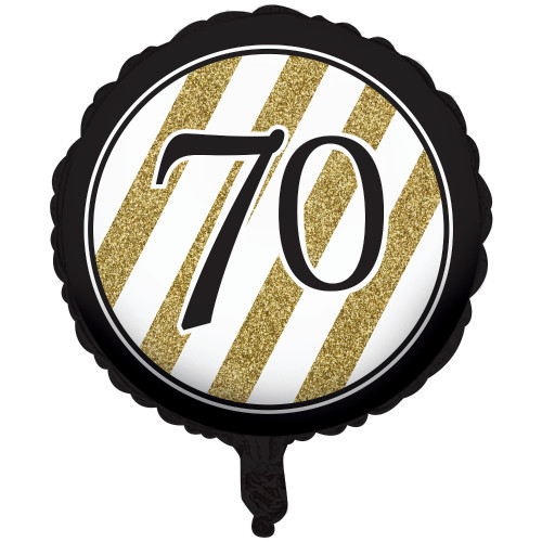 "Pack of 10 Black and Gold Metallic 70 Birthday or Anniversary Foil Party Balloons 18"" - IMAGE 1"