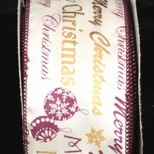 """Purple and White Merry Christmas Wired Craft Ribbon 2.5"""" x 40 Yards - IMAGE 1"""
