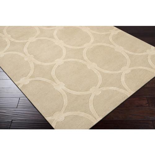 8' x 11' Geometric Beige Rectangular Wool Area Throw Rug - IMAGE 1
