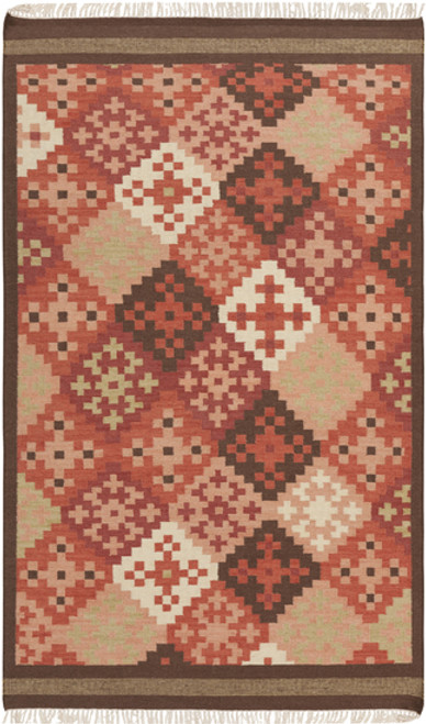 3.5' x 5.5' Diagonal Graphic Pixel Red and Beige Hand Woven Rectangular Wool Area Throw Rug - IMAGE 1
