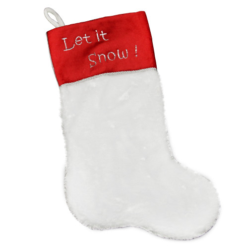 "20"" White and Red Shadow Velveteen Cuff Christmas Stocking - IMAGE 1"