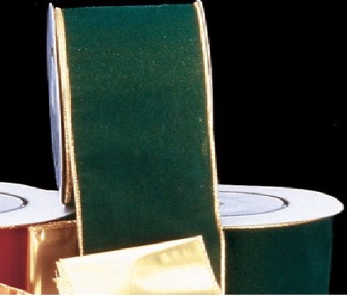 """Hunter Green and Gold Wired Craft Ribbon 2"""" x 40 Yards - IMAGE 1"""