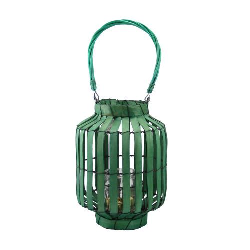 "20"" Tropicalia Green Cabana Tiki Bar Votive Candle Holder Lantern - IMAGE 1"