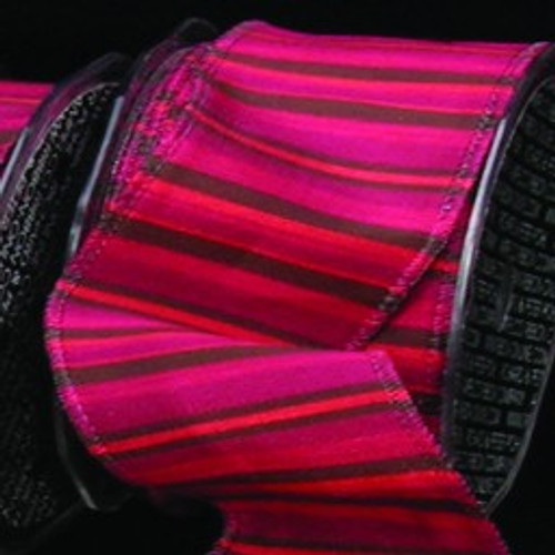 """Pink and Black Striped Wired Craft Ribbon 1.5"""" x 27 Yards - IMAGE 1"""