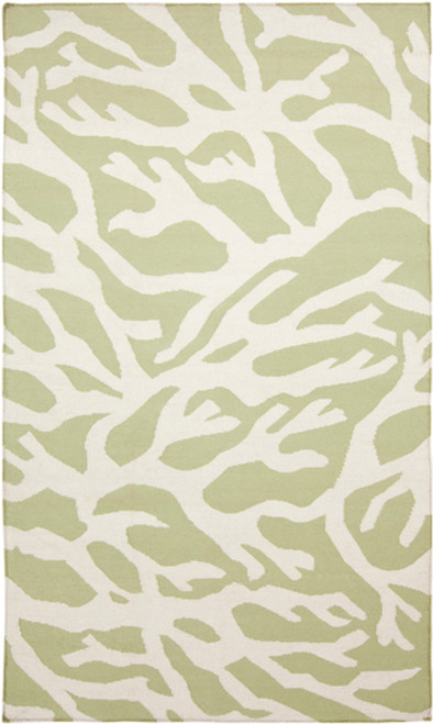 3.25' x 5.25' Green and White Roots Hand Woven Area Throw Rug - IMAGE 1
