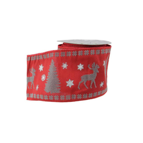 """Red and Gray Reindeer Christmas Craft Ribbon 4"""" x 10 Yards - IMAGE 1"""