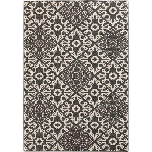 2.25' x 4.25' Black and White Contemporary Machine Woven Rectangular Outdoor Area Throw Rug - IMAGE 1