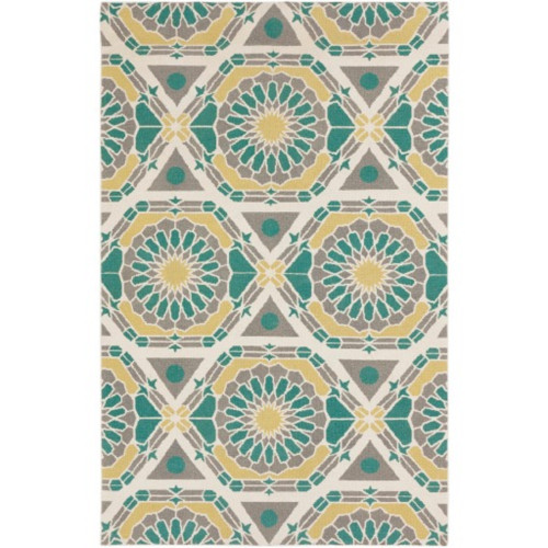 8' x 11' Green and White Geometric Hand Knotted Rectangular Area Throw Rug - IMAGE 1