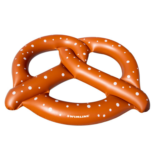 Inflatable Chocolate Brown and White Dotted Giant Pretzel 3-Person Swimming Pool Float, 10-Inch - IMAGE 1
