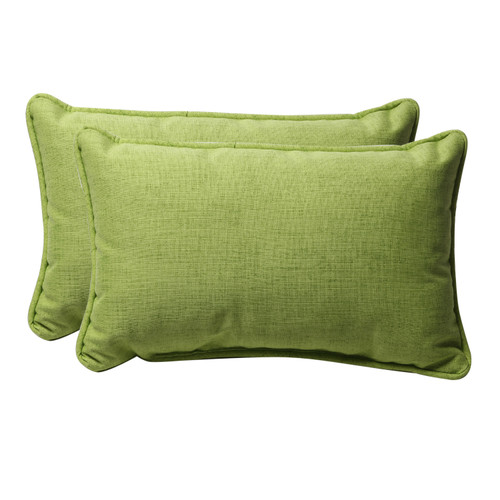 Set of 2 Green Solid Rectangular Outdoor Throw Pillows 18.5-Inch - IMAGE 1