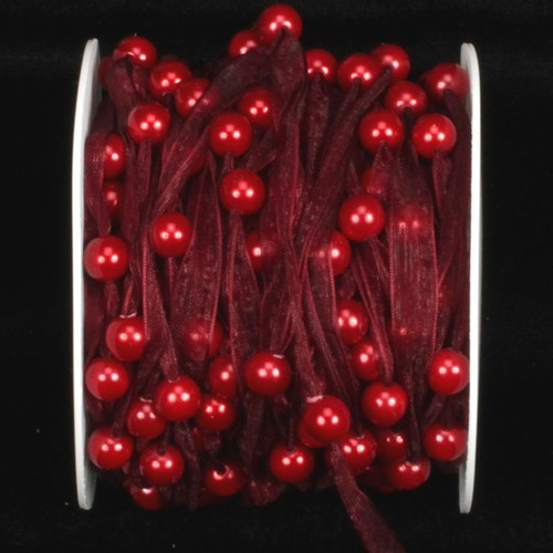 Burgundy Red Narrow Organdy Contemporary Craft Ribbon with Pearls 9.5mm x 27 Yards - IMAGE 1