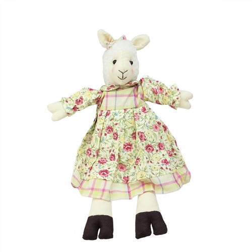 """11"""" Cream White and Pink Libby the Lamb Girl Sitting Easter Tabletop Figurine - IMAGE 1"""