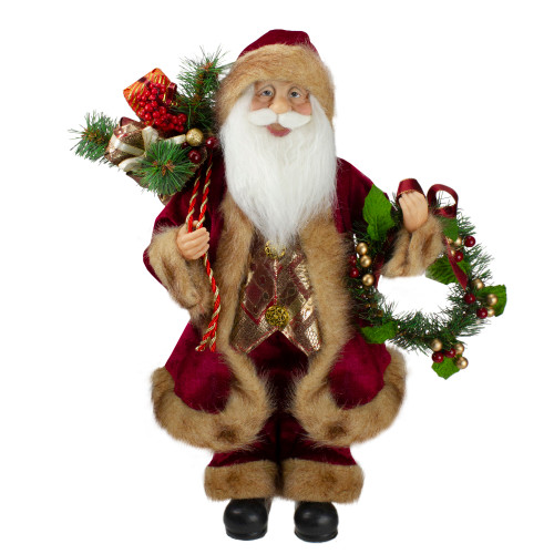"18"" Red Santa Claus Holding a Wreath and Gift Bag Christmas Figurine - IMAGE 1"