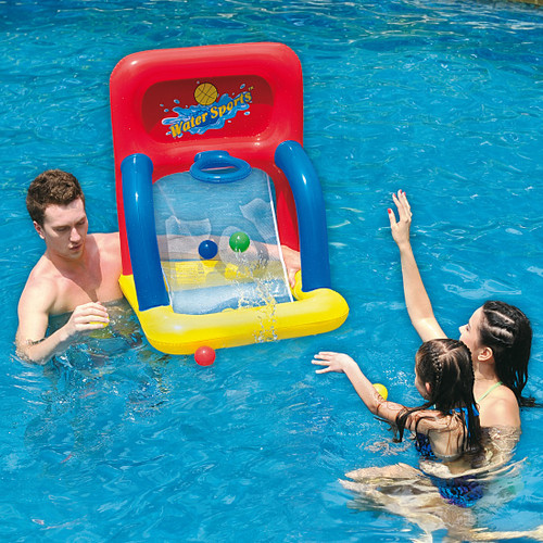 Inflatable Red and Yellow Swimming Pool Basketball Shooting Game, 34-Inch - IMAGE 1
