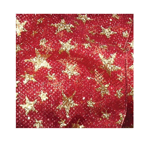 """Red and Gold Stars Wired Craft Ribbon 2.5"""" x 20 Yards - IMAGE 1"""