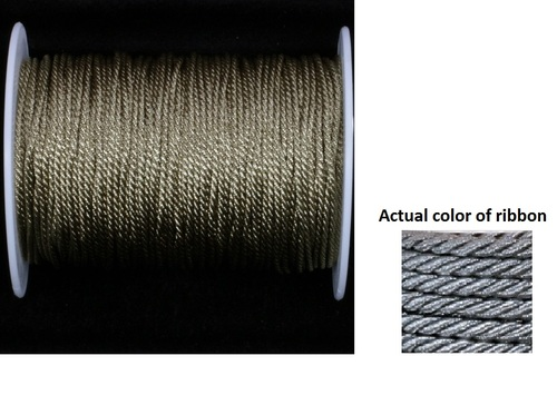 "Pewter Gray Metalized Braided Cording Craft Ribbon 0.1"" x 110 Yards - IMAGE 1"
