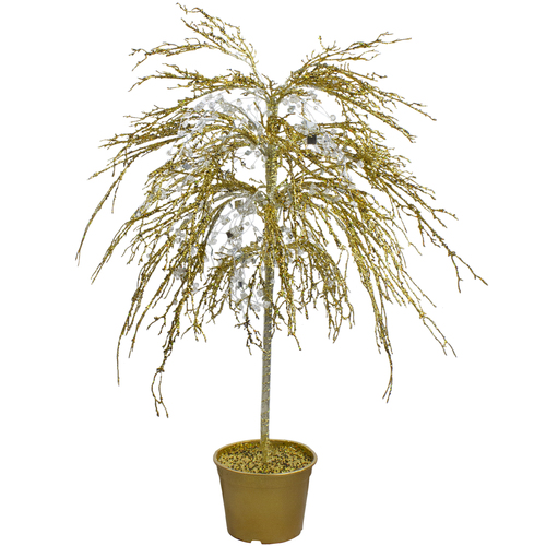 """3.75"""" Gold Crystallized Glitter Potted Artificial Christmas Tree - Unlit - IMAGE 1"""