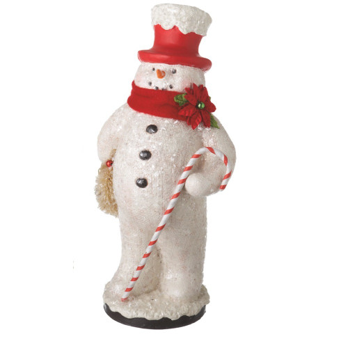 """13"""" White and Red Snowman Holding Wreath Christmas Figurine - IMAGE 1"""