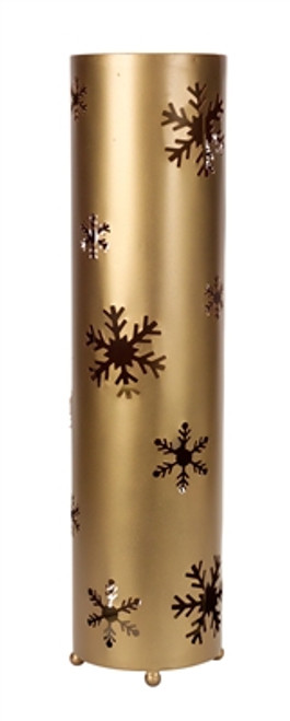 "24"" Elegant Winter Golden Bronze Christmas Snowflake Standing Floor Candle Lantern - IMAGE 1"