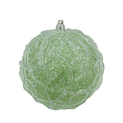 "Green Glittered Shatterproof Swirl Christmas Ball Ornament 4"" (100mm) - IMAGE 1"