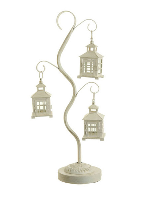 """28"""" Off-White Mission Style Tea Light Candle Holder Tree with 3 Lanterns - IMAGE 1"""