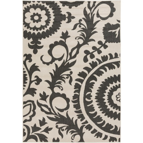 5.25' x 7.5' Flowery Maze Black Olive and Cream White Shed-Free Area Throw Rug - IMAGE 1