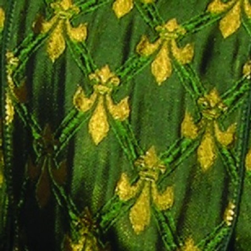 "Green and Gold Fleur De Lis Wired Craft Ribbon 2.5"" x 20 Yards - IMAGE 1"