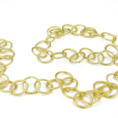 6' Shimmering Gold Round Chain Artificial Christmas Garland - Unlit - IMAGE 1