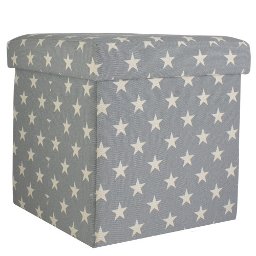 """12"""" Decorative Gray and White Star Collapsible Sqaure Storage Ottoman - IMAGE 1"""