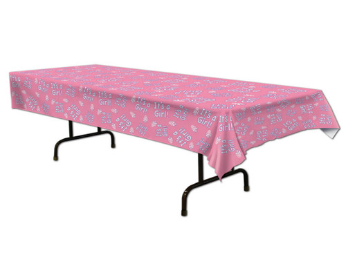 """Club Pack of 12 Pink and White """"It's A Girl!"""" Baby Shower Disposable Party Table Covers 108"""" - IMAGE 1"""