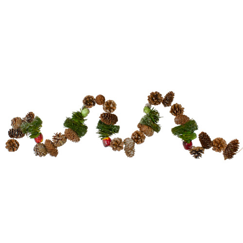 """5' x 5.25"""" Apples and Pine Cone Artificial Christmas Garland - Unlit - IMAGE 1"""