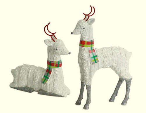 """Set of 2 White and Red Knitted Reindeer Christmas Tabletop Figurines 12"""" - IMAGE 1"""