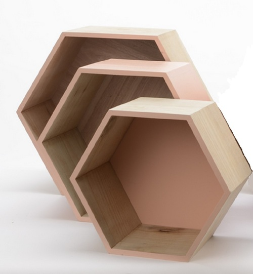 """Set of 3 Beige Contemporary Hexagonal Shadow Boxes 15.5"""" - IMAGE 1"""