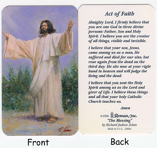 """Club Pack Of 50 """"Act Of Faith"""" Religious Prayer Cards - IMAGE 1"""
