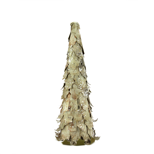 """17.5"""" Gray and Brown Glittered Birch Leaf Cone Tree Christmas Tabletop Decor - IMAGE 1"""