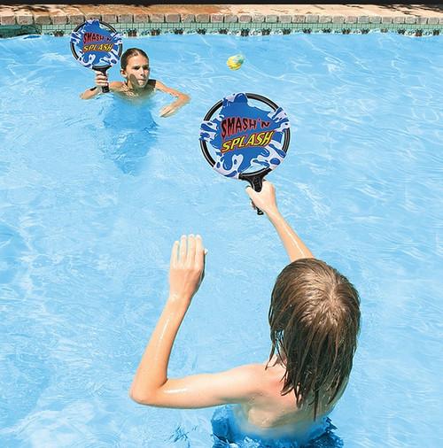 """14.75"""" Blue and White Smash 'N' Splash Paddle Ball Swimming Pool Game - IMAGE 1"""
